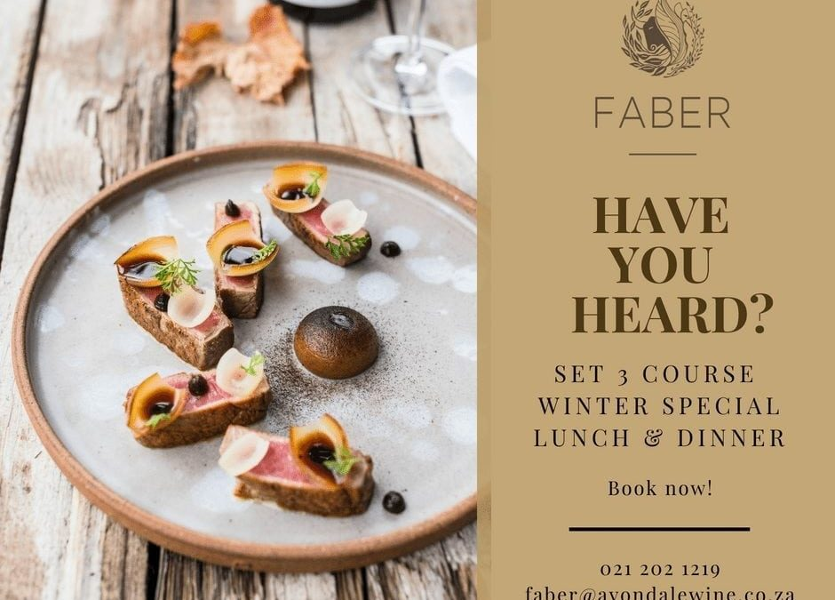 Set Winter Special at FABER restaurant – till 31st August 2018